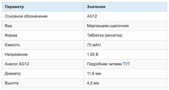 Батарейка для небольших приборов весом 10-30 граммов: незаряжаемый тип с типоразмером AG12