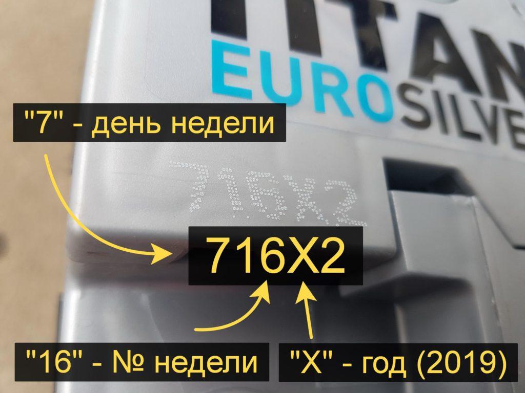 Пять символов маркировки аккумулятора TITAN