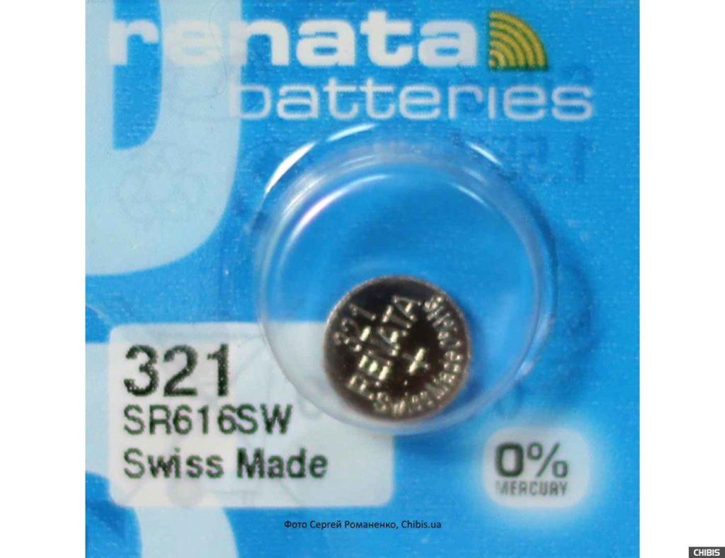 Батарейки (гальванический элемент питания) Renata: модель с типоразмером 321